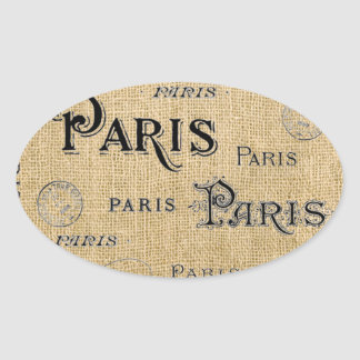 Paris auf Leinwand Ovaler Aufkleber