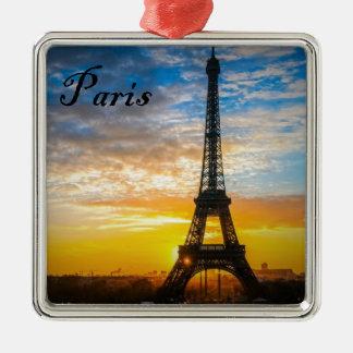 Paris-Ausflug Eiffel im Sonnenuntergang (St.K) Quadratisches Silberfarbenes Ornament