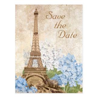 Paris-Blauhydrangea-Vintage Save the Date Karte