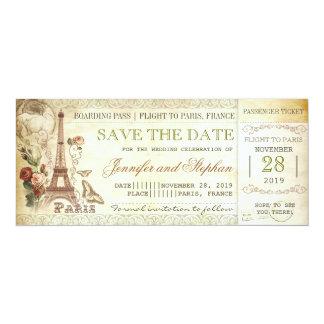 Paris-Boardingdurchlaufkarten für Save the Date 10,2 X 23,5 Cm Einladungskarte