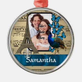 Paris-Collage auf Musikblatt Silbernes Ornament