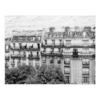 Paris-Dachspitzen in Schwarzweiss Postkarte