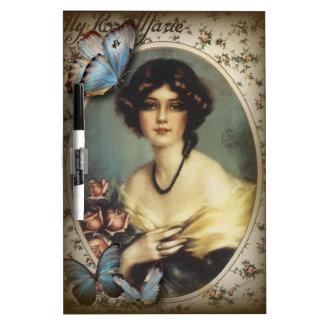 Paris-Dame Mode des antiken Blumenschmetterlinges Trockenlöschtafel
