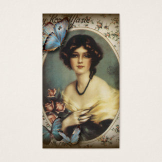 Paris-Dame Mode des antiken Blumenschmetterlinges Visitenkarte