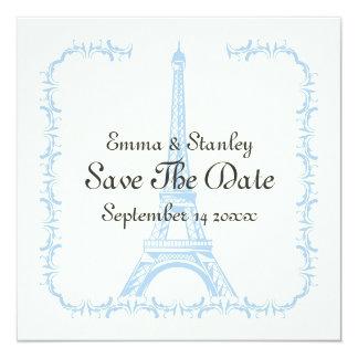 Paris, das Save the Date blaue Karte Eiffel-Turms