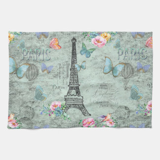 Paris-Eiffel Turm-Blume-Blumen--Vintag-Rosen Handtuch