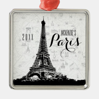 Paris-Eiffelturm addieren Ihren Namen Silbernes Ornament
