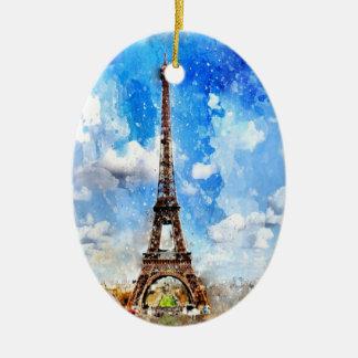 Paris, Eiffelturm, Aquarell, elegant Keramik Ornament