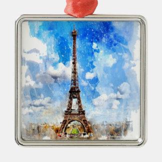 Paris, Eiffelturm, Aquarell, elegant Silbernes Ornament