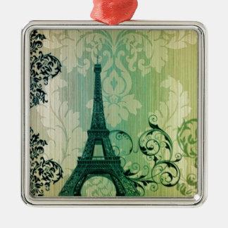 Paris-Eiffelturm Damast des Frühlinges tadelloser Silbernes Ornament