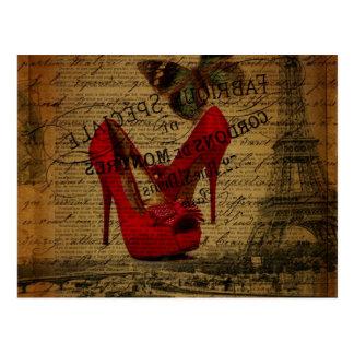Paris-Eiffelturm Fashionista-Rot-Stilette Postkarte