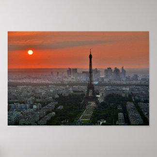 Paris-Eiffelturm-Frankreich-Sonnenuntergang-Plakat Poster