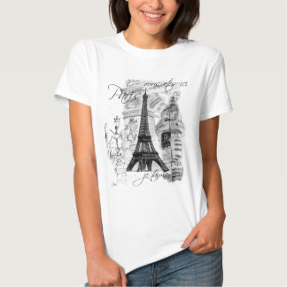 Paris-Eiffelturm-französische Szenen-Collage T Shirt