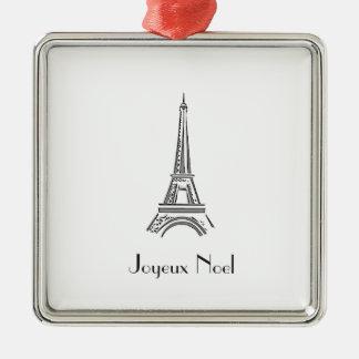 Paris-Eiffelturm-französische Weihnachtsverzierung Quadratisches Silberfarbenes Ornament