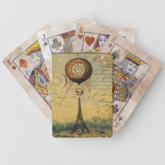 Paris-Eiffelturm Steampunk Heißluft-Ballon Spielkarten