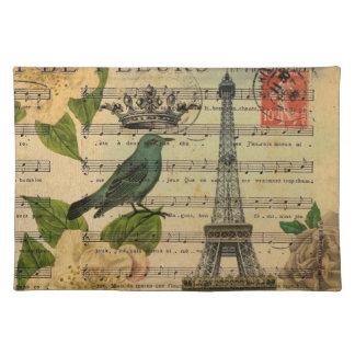 Paris-Eiffelturm Vogel der botanischen Kunst Tischset