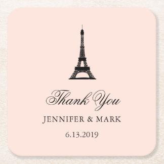 Paris-Eleganz errötet rosa Hochzeit dankt Ihnen Rechteckiger Pappuntersetzer