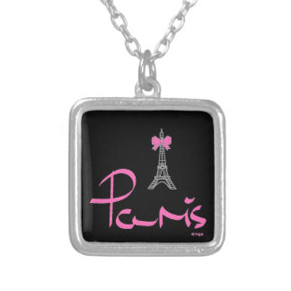 Paris, - Frankreich-mit-Rosa-Bogen Versilberte Kette