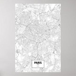 Paris, Frankreich (Schwarzes auf Weiß) Poster