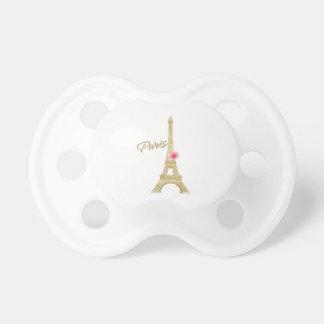 Paris-Goldeiffel-Turmu. rosa Rosemoderner Chic Schnuller