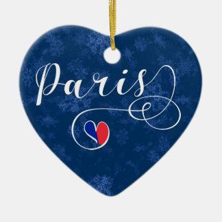 Paris-Herz, Weihnachtsbaum-Verzierung, Frankreich Keramik Ornament
