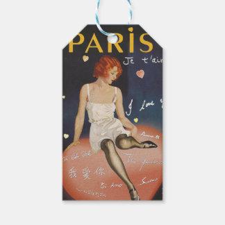 Paris je t aime, altes Plakat Geschenkanhänger