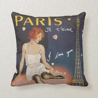Paris je t aime, altes Plakat Kissen