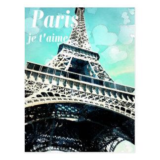 """Paris je t'aime"" Retro Eiffelturm-Postkarte Postkarte"