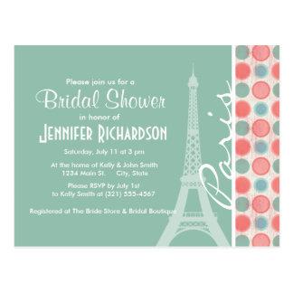 Paris; Lachse, korallenrotes Rosa u. Seafoam Postkarte