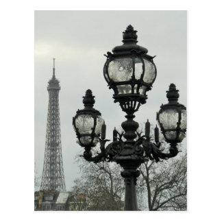 Paris-Lampen-Posten und Eiffelturm-Szene Postkarte
