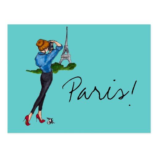 Paris-Mädchen Postkarten