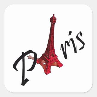 Paris, mit rotem Eiffelturm Quadrataufkleber