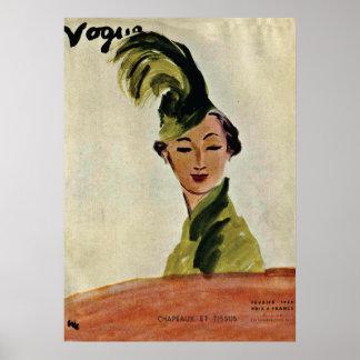 Paris-Mode-Abdeckung ~ Hüte u. Gewebe 1935 Poster
