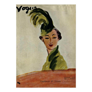Paris-Mode-Abdeckung ~ Hüte u. Gewebe 1935 Plakate