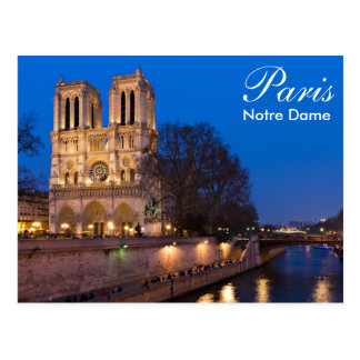 Paris - Notre Dame an der Nachtpostkarte Postkarten