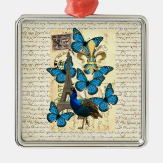 Paris, Pfau und Schmetterlinge Silbernes Ornament
