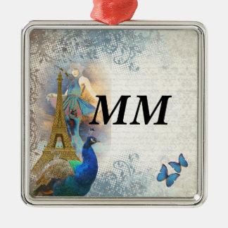 Paris-Pfaucollage Silbernes Ornament