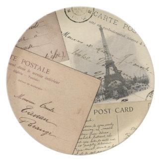 Paris-Postkarten-Collagen-Platte Teller