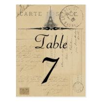 Paris-Postkarten-Tischnummer