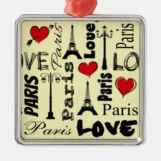 Paris Quadratisches Silberfarbenes Ornament