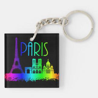 Paris-Regenbogen-Monument-Eiffelturm Beidseitiger Quadratischer Acryl Schlüsselanhänger