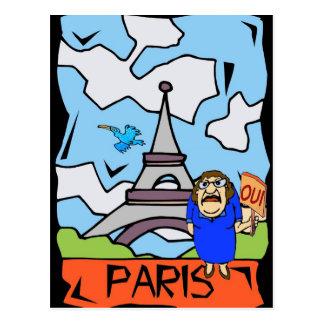 Paris-Reise-Cartoon Postkarte