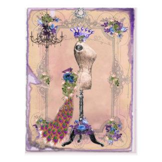 Paris-Rosa Postkarte
