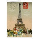Paris Sankt und Schneemann-Weihnachtskarte Karte