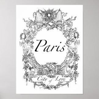 Paris: Stadt der Liebe-Plakat-Kunst-Illustration Poster