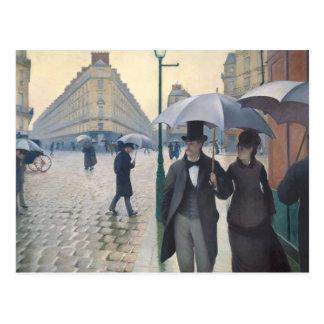 Paris-Straße; Regnerischer Tag Postkarte