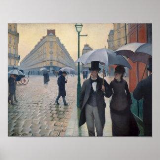 Paris-Straßen-regnerischer Tag durch Gustave Caill Posterdruck