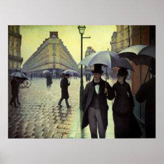 Paris-Straßen-regnerischer Tag durch Gustave Poster