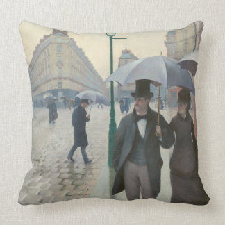 Paris-Straßen-regnerischer Tag Kissen