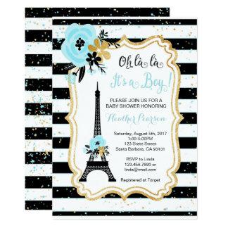Paris-Thema-Babyparty-Einladungs-Blau 12,7 X 17,8 Cm Einladungskarte